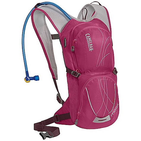 Fitness Free Shipping. CamelBak Women's Magic Hydration Pack DECENT FEATURES of the CamelBak Women's Magic Hydration Pack Designed for women Shorter torso length S-curved shoulder harness for more comfortable carry Harness hardware moved to base of pack to reduce potential friction points Velvetex harness lining for added comfort next to bare skin Fully adjustable sternum strap for added stability Thermo-molded pods provide superior cross ventilation in a lightweight design Quick Link System, 1/4 turn - easy open/close cap Lightweight fillport Dryer arms Center baffling and low-profile design Patented Big Bite Valve HydroGuard technology PureFlow tube Easy-to-clean wide-mouth opening External fill Helmet hook Short torso sits above jersey pockets Bike tool organizer pocket Stretch overflow storage Designed to Carry: Multi-tool, helmet, pump, spare tube, extra layer, energy bar, MP3, phone, cards and cash, keys The SPECS Hydration Capacity: 70 oz / 2 L Total Capacity: 122 cu in / 2L + 2L Reservoir Weight: 13 oz / 370 g Dimensions: 15 x 8 x 4.5 in / 38 x 20 x 11.5 cm Torso Length: 13 in / 33.5 cm Back Panel: XV Harness: Women's Specific Ultra-Light 3D Mesh with Velvetex lining and Slider Sternum Strap Belt: Removable 20mm / .75in. stability Fabric: 70 / 140D Dobby with DWR + 1000mm PU - $83.95