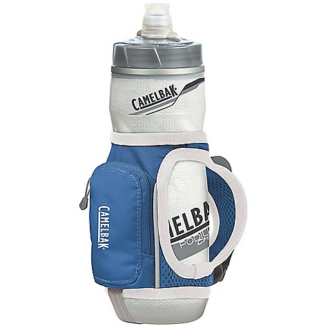 Fitness CamelBak Quick Grip 21 oz Podium Chill Bottle DECENT FEATURES of the CamelBak Quick Grip 21 oz Podium Chill Bottle Includes one Podium Chill 21 oz bottle Insulated to maintain temperature (warm or cool) Self-sealing Jet Valve Easy to squeeze BPA-Free TruTaste Polypropylene with HydroGuard lets you taste water--not the bottle Lockout for leak-proof transport Adjustable comfort grip Key clip Reflective tape Essentials pocket Designed to Carry: Gel, keys, cash The SPECS Hydration Capacity: 21 oz / 0.61 L Weight: 1.5 oz / 40 g Dimensions: 9 x 3 x 3 in / 23 x 8 x 8 cm Fabric: 70D Diamond Clarus with DWR + 1000 mm PU - $21.95