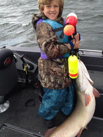 "Fishing 7 year old, Keegan Lucy made the best of his FIRST trip to Mille Lacs last week when a 55"" monster hit his #9 Shad Rap!"