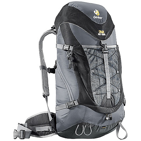 Camp and Hike On Sale. Free Shipping. Deuter ACT Trail 32 Backpack DECENT FEATURES of the Deuter ACT Trail 32 Air Contact Back System with Delrin U-frame Rod Front-entry Two-way Zip Panel Allows Access to Deep Gear Stuff-It Pocket Integrated, Detachable Rain Cover Side Pocket Large Side Zippered Pocket Hip Belt Pocket Ice Axe and Trekking Pole Loops Hydration Compatible Contoured, Padded Shoulder Straps with 3D Air Mesh Air Comfort FlexLite System Anatomically Shaped Shoulder Straps: With 3D-Air Mesh cover Air Channel: Between the Air Contact cushions helps reduce perspiration by 15% Flexible, Tensioned Delrin U-frame: Provides great stability and carrying comfort Air Contact Pads: Made of breathable hollow chamber foam bring the load close to the center of gravity Ventilation: A load dispersion body contact system using breathable reticulated foam that reduces perspiration up to 15% Flexible: Tensioned Delrin U-frame provides great stability and carrying comfort The SPECS Carry Capacity: 25 lbs / 11 kg Torso Length: 17 - 21in. / 43 - 53 cm Volume: 1950 cubic inches / 32 liter Weight: 2 lbs 14 oz / 1.32 kg (rain cover) Dimensions (H x W x D): 26 x 13 x 9in. / 66 x 32 x 24 cm Materials: Microrip-Nylon / HexLite 210 OVERSIZE ITEM: We cannot ship this product by any expedited shipping method (3-Day, 2-Day or Next Day). Even if you pick that option, it will still go Ground Shipping. Sorry for being so mean. - $99.99
