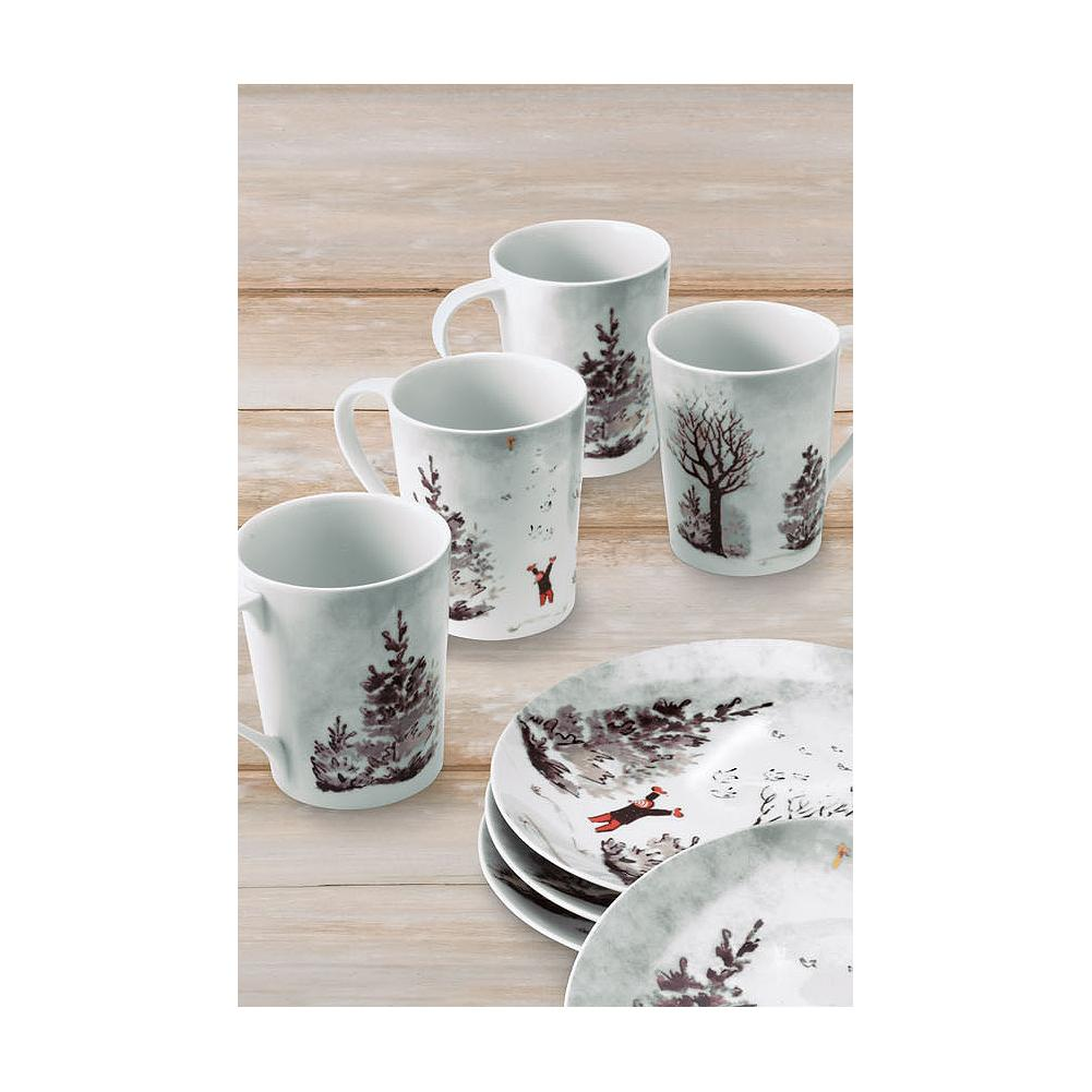 Entertainment Eddie Bauer Stine Snow Day Mug Set - Perfect for holiday hosting, these beautiful porcelain mugs depict a joyful snow scene reproduced from one of Stine Bauer's hand-painted, one-of-a-kind holiday keepsake cards. - $19.99