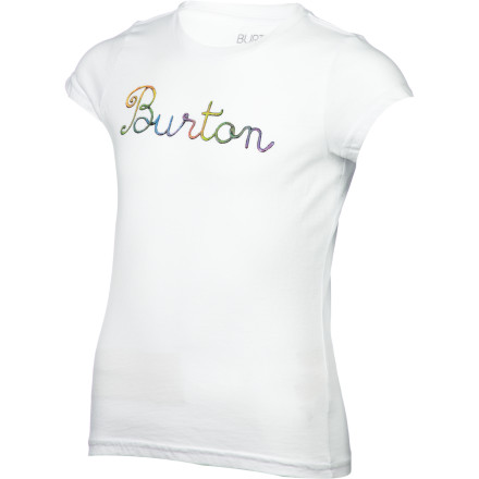 Snowboard Your girl's love for snowboarding doesn't slow down in the summer, so do your best to hold her over until next winter with the Burton Hue Girls' Short-Sleeve T-Shirt. - $16.76