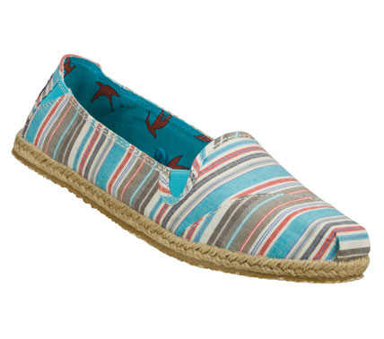 Send your feet on vacation with the SKECHERS Bobs Heart Bob - Lil Feet shoe.  Soft woven striped fabric upper in a slip on casual alpargata flat with stitching accents and espadrille sole. - $35.00
