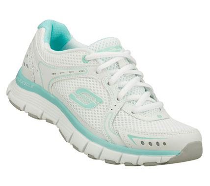 Entertainment Super sporty style and comfort come in the SKECHERS Flex Fit - Fly shoe.  Smooth leather and mesh fabric upper in a lace up sporty athletic training sneaker with stitching and overlay accents. - $50.00