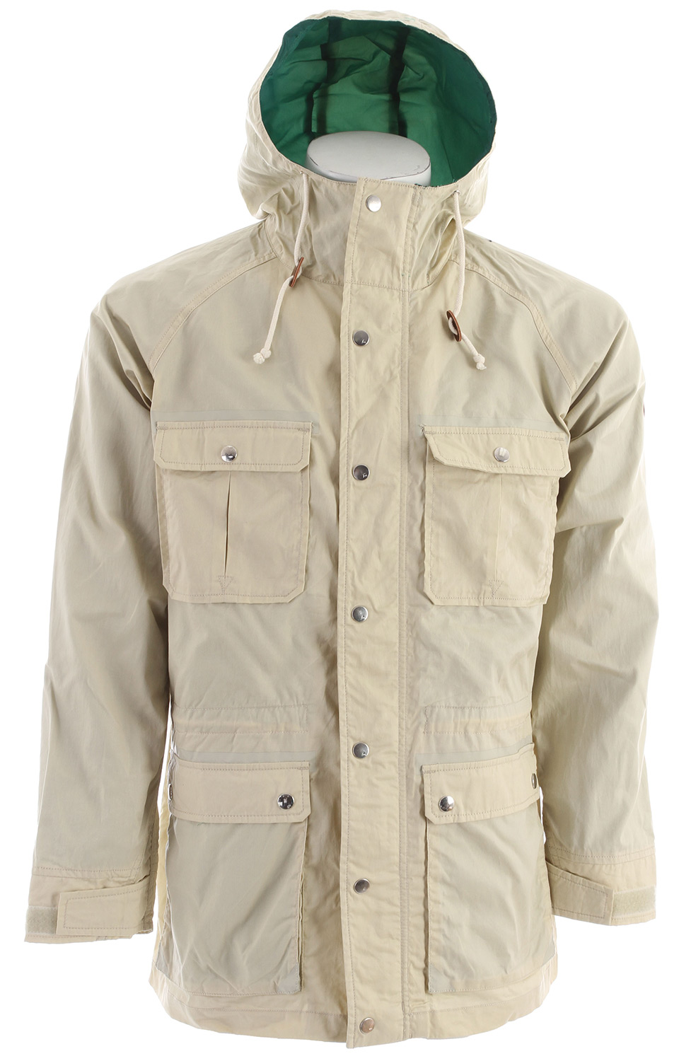 Snowboard Military-inspired waxed cotton parka; without the yelling or the pushups.It was later adopted by the British military for elemental protection, then by American sportsmen for its classic weatherproof character. That is some fabric history, but what makes it such a classic choice for the Men's Burton Greenville Jacket is that combination of utilitarian function and timeless style. The street fit, fulltime Contour hood and breathable taffeta lining add another layer of function to this classic foul weather performer.* Taffeta Half Lining [Upper Body, Sleeves and Hood] * Fulltime Contour Hood * Adjustable Cuffs * Waxed Cotton Fabric * Patch-On Handwarmer Pockets with Snap Closure * Internal Chest Pocket * Internal Waist Cinch - $56.95