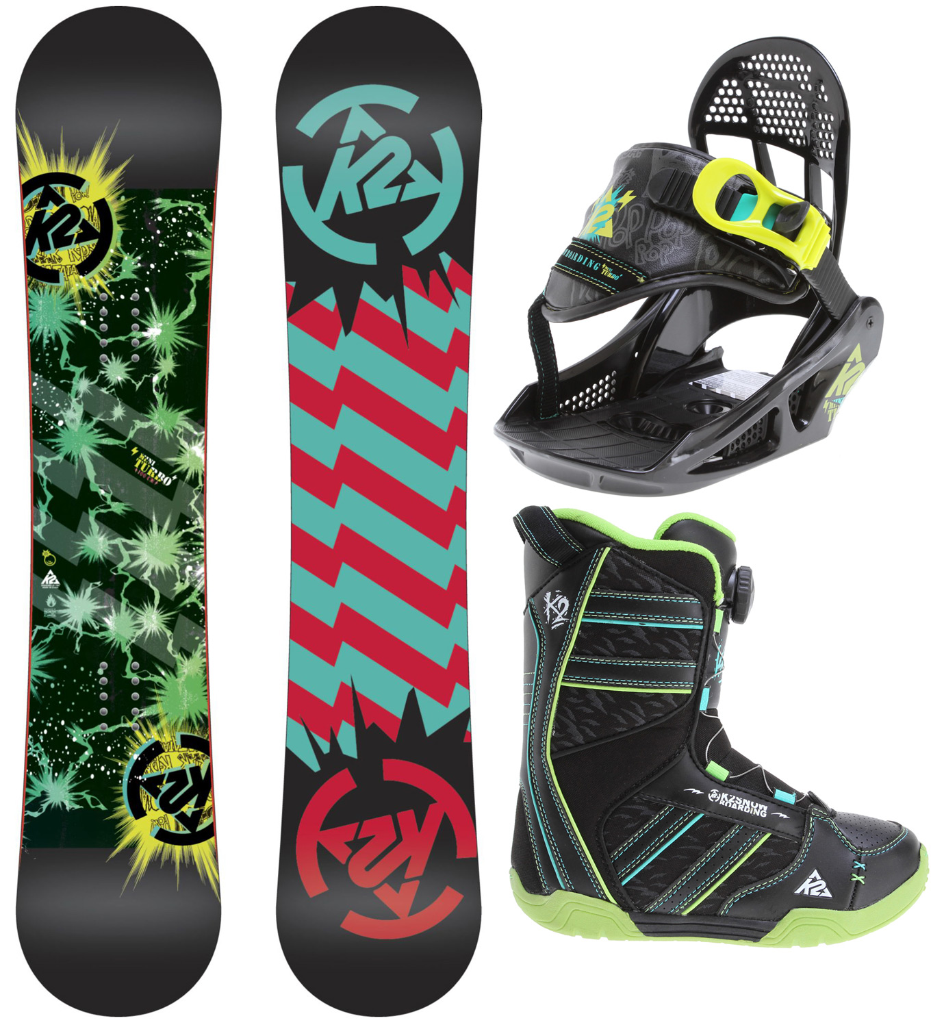 "Snowboard Getting kids up on the hill warm and happy is always the first step to a life of snowboarding. The Mini Turbo Grompack is the first setup designed with this in mind. From standout innovations like the Noodle board Construction to the little details like a loop on the toe of the boot for the leash to attach, it's all designed to be easy to use and enhance the day of snow-sliding fun for both kids and parents.Key Features of the K2 Mini Turbo Grom Pack Snowboard w/ Boots/Bindings: BASELINE: Catch Free Rocker CONSTRUCTION: Hybrilight Noodle SHAPE: Twin Dual Progressive STANCE: Centered CORE: Noodle GLASS: Biax / Biax BASE: 2000 Extruded BASE: 3"" LINER FIT: Boa LACING SYSTEM: Internal J- Bars OUTSOLE: Heel & Tongue Pull for easy entry FOOTBED: EVA Insole CHASSIS: Groms Chassis HIGHBACK: Grom Highback ANKLE STRAP: Single Strap RATCHET: EZ Feed Boot Flex: 1 Length (cm): 90, 100, 110, 120, 130 Effective Edge (cm): 70.04 (90), 77.66 (100), 85.28 (110), 95.44 (120), 103.06 (130) Tip/Tail Width (cm):23.14 (90), 24.23 (100), 25.22 (110), 26.42 (120), 27.31 (130) Waist Width (cm): 20.2 (90), 21.0 (100), 21.7 (110), 22.40 (120), 23.0 (130) Sidecut (m): 4.0 (90), 4.5 (100), 5.0 (110), 5.5 (120), 6.0(130) - $217.95"
