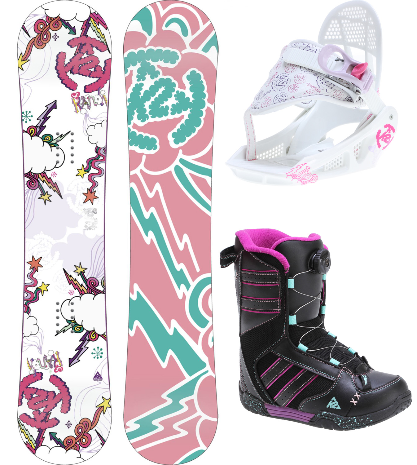 "Snowboard The original all-in-one kids package, the Grompack is design with  both kids and parents in mind. Little rippers will learn quickly, stay  comfy and do it all on their own with features like Boa boot lacing, a  Noodle board Construction and one strap binding. Parents can rest  easy that the setup will last for more than a season with Grows-a-long  boots and bindings. It all adds up to great days on the mountain with  the kids.Key Features of the K2 Lil Kandi Grom Pack Snowboard w/ Boots/Bindings: BASELINE: Catch Free Rocker CONSTRUCTION: Hybrilight Noodle SHAPE: Twin Dual Progressive STANCE: Centered CORE: Noodle GLASS: Biax / Biax BASE: 2000 Extruded BASE: 3"" LINER FIT: Boa LACING SYSTEM: Internal J- Bars OUTSOLE: Heel & Tongue Pull for easy entry FOOTBED: EVA Insole CHASSIS: Groms Chassis HIGHBACK: Grom Highback ANKLE STRAP: Single Strap RATCHET: EZ Feed Boot Flex: 1 - $200.97"