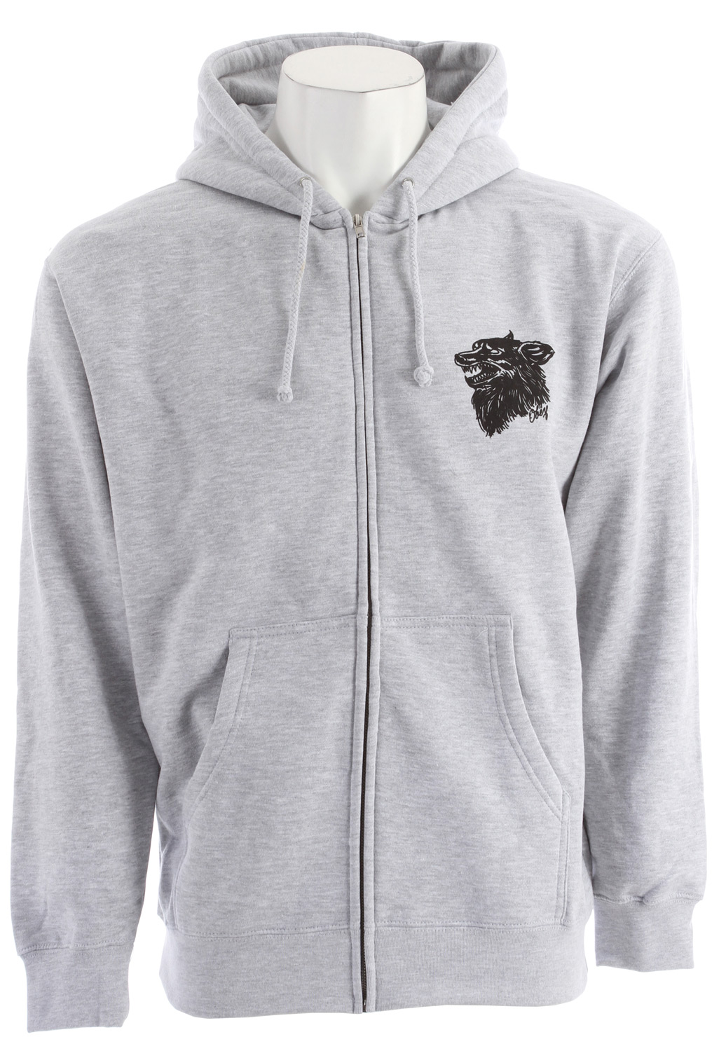 Key Features of the Obey Hell Hound Hoodie: Regular fit zip hood fleece with pouch pocket and rib trim Features graphic screenprint on chest and back 50% Cotton / 50% Polyester - $44.95
