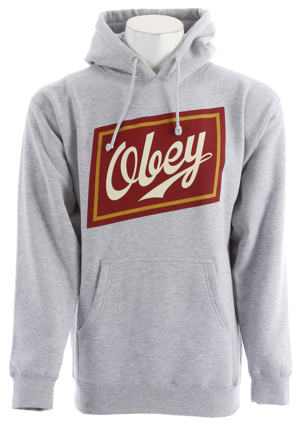 Key Features of the Obey Malt Liquor Hoodie: Regular fit pullover hood with pouch pocket, set in sleeves and rib trim Features graphic screenprint on chest 50% Cotton / 50% Polyester - $55.95