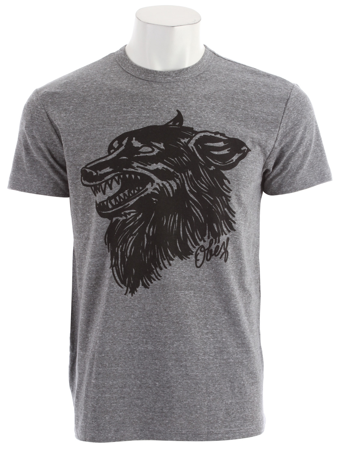 Key Features of the Obey Hell Hound Tri-Blend T-Shirt: Light weight slim fit tri tee with heather pattern and rib neck binding 50% Polyester / 25% Cotton / 25% Rayon - $30.95