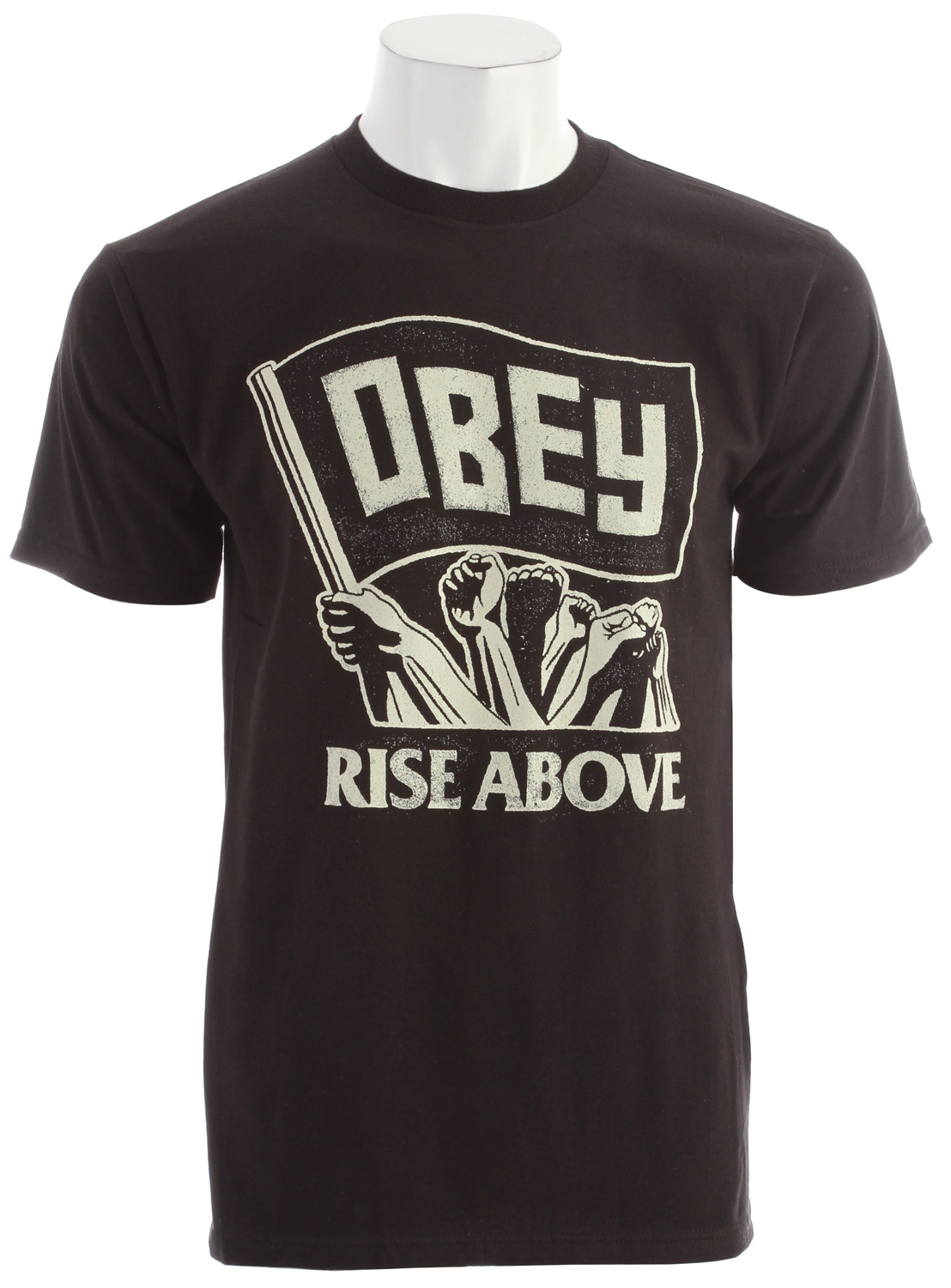 Key Features of the Obey Rise Above Flag Basic T-Shirt: Heavy weight Regular fit tee with inset Rib Crew neck 100% Cotton - $20.95