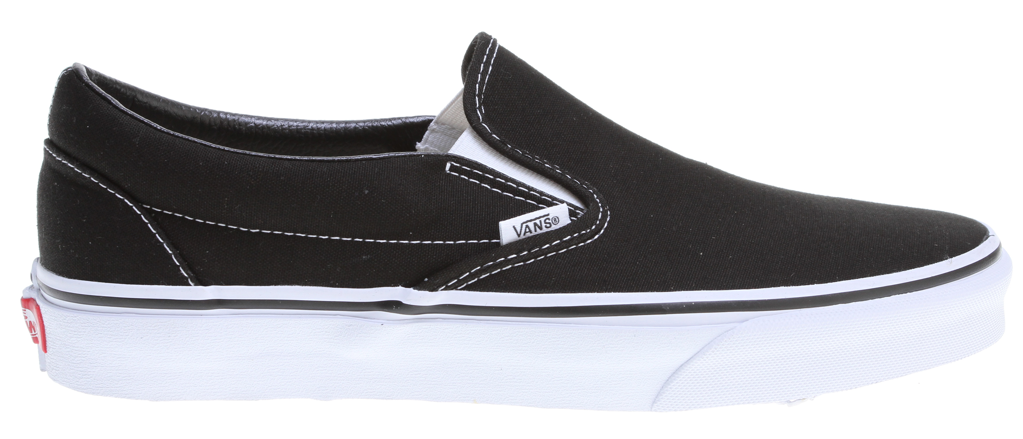 Skateboard Every skater remembers his first pair of Vans--and you can relive the good days with a pair of these Vans Classic Slip On skate shoes. It's everything you love about the traditional Vans design: easy to put on, yet secure on your feet; rugged canvas uppers that can withstand your sickest tricks; and a vulcanized rubber waffle-pattern sole for balance and durability. Get the look and feel of the most iconic skate shoe around with the Vans Classic line, and prepare to remember why the brand is king.Key Features of the Vans Classic Slip On Shoes: Canvas uppers. Classic Slip-On construction. Vulcanized waffle outsoles. Unisex sizing. - $45.00