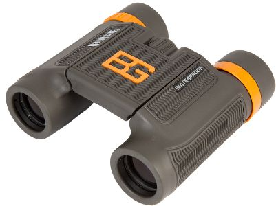 Hunting With a lightweight design and included carry case, Bushnells Bear Grylls 8x25 binoculars offer portability and reliable optics when you need them. BaK-4 prisms provide clear, crisp images, and twist-up eyecups provide easy focusing. 100% waterproof. Includes lens cloth and neck strap. Color: Brown/Orange. Type: Compact. - $47.88