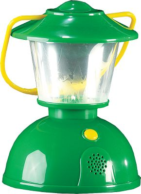 With the Campfire Kids Play Lantern, you can bring the outdoors indoors. Bright LED lights emit hours of illumination and in just the flip of a switch, nighttime nature sounds abound with howling wolves, ribbiting frogs, chirping crickets and more. Runs on 3 AA batteries (included). For ages 3+. - $19.99