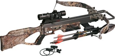 Hunting Amazingly compact and lightweight, its the ideal crossbow for long days afield or cramped ground blinds. Ergo Grip stock brings everything closer to you for better balance and improved accuracy. Quad-Loc riser design locks in each limb on four sides for greater strength and consistency. BCY Dynaflight 97 string reduces creep and increases speed. Tact-Zone scope features an updated reticle design, 30mm main tube, red/green rheostat illuminated reticle and multicoated lenses for exceptional clarity and light-gathering performance. Speed: 355 fps. Power stroke: 12.2. Draw weight: 240 lbs. Length: 34.8. Weight: 5.4 lbs.; with accessories: 8.4 lbs. Camo pattern: Realtree XTRA Matrix 350 Crossbow Package includes: crossbow, Tact-Zone scope, four-arrow quiver with mounting bracket, four Diablo bolts, four 150-grain field points and rope cocking aid. Color: Realtree XTRA. - $899.99