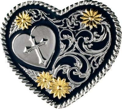 Entertainment Add a touch of western flair to your attire with this Western Edge two-tone belt buckle that features a raised heart with cross. Made of zinc alloy, it with stands daily wear and maintains its great looks. Silver and gold-electroplated accents set on a stunning, contrasting black-painted background.Dimensions: 2-1/2L x 2-3/4W.Weight: 8.5 oz. - $19.99