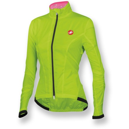Fitness Paper thin and incredibly lightweight, the Castelli Leggera women's bike jacket blocks wind to keep you protected from the elements so you can go farther and faster than before. Lightweight polyester fabric feels soft against skin; generous back mesh vent promotes breathability and ventilation. Full-length front zipper provides immediate ventilation when you need to cool off; draft flap adds extra protection on chilly days. Elastic cuffs and droptail hem provide a close fit that seals in warmth and keeps wind out. Castelli Leggera bike jacket packs down extremely small and comes with its own stuff sack that doubles as a storage device for your riding essentials like energy gel or ID. Reflective details increase visibility in low light. Closeout. - $55.73
