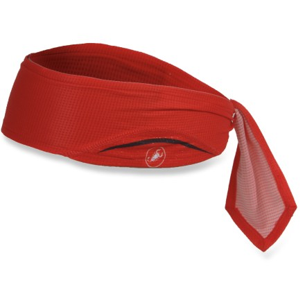 Fitness The Castelli Scorpione headband keeps sweat at bay during warm weather and fits easily under a helmet for long, hot days on the bike. Moisture-wicking, quick-drying polyester fabric is lightweight and feels soft against skin. Headband center features terrycloth fabric panel with enhanced moisture absorbency. Headband consists of a single piece of fabric; simply tie it around your head in whatever style suits you. Closeout. - $9.73