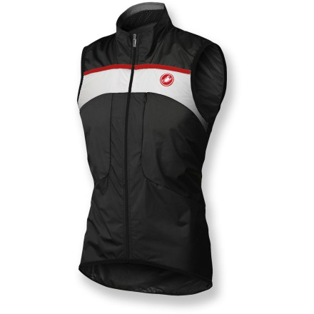 Fitness Light as air but offering heavy-duty protection, the Castelli Compatto Rain bike vest efficiently blocks wind and resists rain so bad weather doesn't trap you indoors. Lightweight nylon fabric features GORE Windstopper(R) to keep your core protected from windchill and easily combines with other layers for optimal comfort. Chest pocket with hidden zipper stores small essentials while you're on the go. Full-length front zipper with draft flap provides complete coverage. Elastic droptail hem ensures full coverage while in the riding position. Closeout. - $95.73