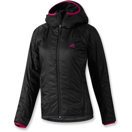 Entertainment The adidasTerrex Swift Primaloft Hoodie jacket has lightweight, synthetic insulation to keep you warm even when wet, plus style to take you from mountain to town without missing a beat. Polyester shell features soft PrimaLoft(R) Sport synthetic insulation that is as soft as goose down, continues to insulate when damp and dries quickly. Quick-drying, polyester lining slides easily over layers and adds breathability and moisture management. Jacket features a zippered interior pocket and zippered handwarmer pockets. Terrex Swift Primaloft Hoodie has a drawcord hem and elastic-bound cuffs. Closeout. - $104.73