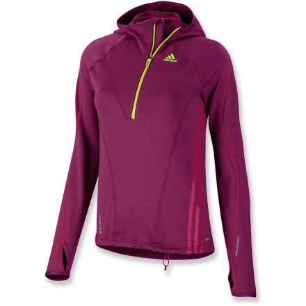 Camp and Hike With moisture-wicking, quick-drying fabric and a bit of stretch, the women's adidas Terrex Half-Zip Hoodie is built for high-energy activities, from a brisk morning run to hiking your favorite trail. Polyester/spandex blend fabric moves with you; waffle fleece lining adds warmth and softness. Flatlock seams offer flexibility and comfort. adidas Terrex Half-Zip Hoodie has a drawcord hem and elastic-bound cuffs. Half-zipppered front, a formfitting hood and cuff thumbholes extend warmth and coverage. Closeout. - $37.73