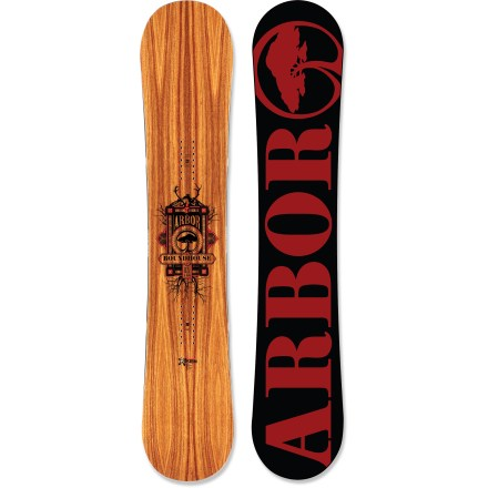 Snowboard The mid-wide Arbor Roundhouse RX snowboard supports larger feet without reducing performance. Fits up to size 15 boots. For intermediate to advanced riders, the Roundhouse RX provides the quickness and power you need for endless rounds of hard driving, all-terrain, mixed-condition fun. System rocker design offers reliable, all-aspect performance in deep powder, tight trees, technical steeps and carvable groomers. Rocker shape ensures that outside contact points engage with the snow when maximum edge control is needed; this means loaded turns, higher speeds and bigger landings. Grip Tech sidecut makes 4 points of contact underfoot for improved and direct edge control; contact points create heel and toe pivot points for faster, more efficient turning. Twin shape positions the rider directly over the Grip Tech contact points for effective edge activation and adds nose length for better float in pow. Forest Stewardship Council certified for sustainable production, this high-grade lightweight poplar core has 2 bamboo compression axles running tip to tail. These bamboo axles create compression struts that liven longitudinal flex without affecting turn or spin initiation and landing recovery. Sustainably sourced inlaid wood topsheet structurally enhances the board, adding return and durability, and reducing weight; plus, it creates a one-of-a-kind look. Mixed glassing (triax over biax) provides torsional forgiveness, board feel and edge hold, and performs best for general on-mountain and park riding. Topsheet features a protective ultrathin finish, made from a castor-bean-based bio-plastic, that guards against damage caused by loose bindings and unforeseen impacts. Board's core profile is slightly thinner and tapered in between the bindings to enhance mountain and park performance. ABS/urethane blend sidewall construction provides maximum durability and excellent edge control. - $395.93