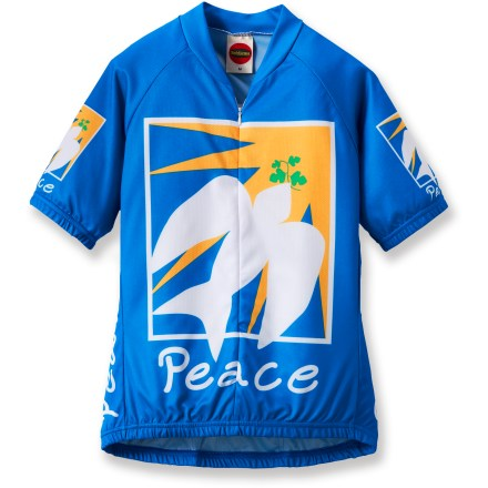 Fitness Put your mind in a tranquil place when you pull on the BDI Dove Peace Bike Jersey for your next cycling adventure. Polyester mesh fabric wicks away sweat and dissipates it for quick drying; airy mesh weave promotes excellent breathability. Hidden front zipper allows ventilation control. Raglan sleeves allow unrestricted arm motion. Elastic cuffs and droptail elastic hem provide ample coverage and keep the jersey in place. 3 rear pockets hold your bike accessories and snacks. Closeout. - $11.73
