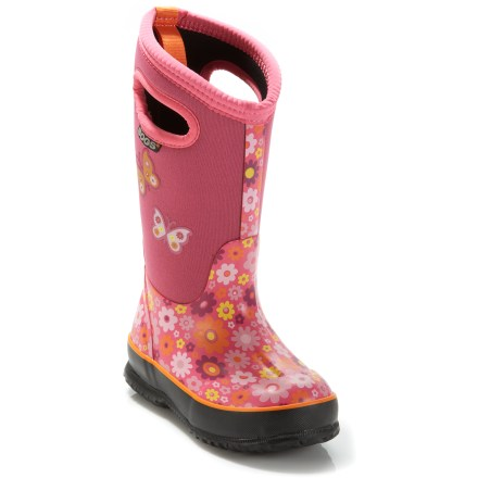 The girls' Bogs Classic High Daiy rain boots have bright colors and quality waterproof construction to keep her happily puddle-jumping in style. 4-way stretch neoprene uppers hug feet comfortably and are covered with rubber for complete waterproof protection. Neoprene also acts as an insulating layer and is comfort rated to -30degF. Built-in handles make it easy for little ones to pull the boots on quickly all by themselves. Nylon jersey linings manage internal moisture, dry quickly and reduce blister-causing friction. Rubber midsoles absorb shock and offer all-day cushioning. The Bogs Classic High Daisy rain boots have nonmarking, nonslip rubber outsoles deliver solid grip on wet and dry surfaces. Closeout. - $46.73