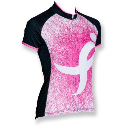 Fitness The Canari Promise quick-drying, moisture-wicking polyester bike jersey boldly shows your support for breast cancer research and awareness. Canari is donating part of the proceeds from the purchase of this bike jersey to the Susan G. Komen foundation to help with breast cancer research. Polyester fabric draws moisture away from your body to the outer layer for quick evaporation. With a UPF 30 rating, fabric provides very good protection against harmful ultraviolet rays. Full-length front zipper lets you dump heat quickly as needed, offering temperature control and comfort. Droptail hem ensures coverage in the riding position. The Canari Promise bike jersey has 3 back pockets to store gear and a few essentials. Closeout. - $15.73