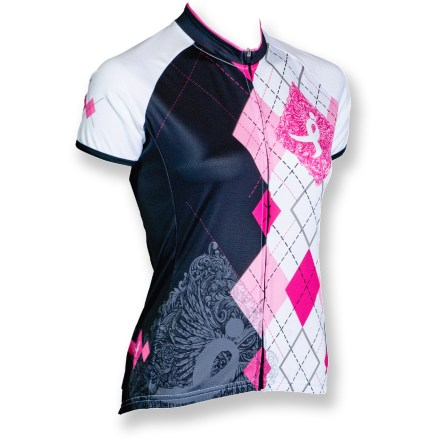 Fitness Show your support for breast cancer research-and your sense of style-when you ride in the pink argyle-accented Canari Courage quick-drying polyester bike jersey. Canari is donating part of the proceeds from the purchase of this bike jersey to the Susan G. Komen foundation to help with breast cancer research. Polyester fabric draws moisture away from your body to the outer layer for quick evaporation. With a UPF 30 rating, fabric provides very good protection against harmful ultraviolet rays. Droptail hem ensures coverage in the riding position. Full-length front zipper lets you dump heat quickly as needed. Canari Courage bike jersey has 3 back pockets to store gear and a few essentials. Closeout. - $23.73