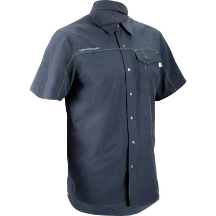 Fitness Whether you're wrenching, riding or relaxing, the Cannondale Shop Bike shirt offers casual style and performance fabric to keep you comfortable however you choose to roll. Moisture-wicking and quick-drying fabric features a bit of stretch so that the shirt comfortably moves with you. Single chest pocket and single back stash pocket stow tools or small riding essentials. - $60.00