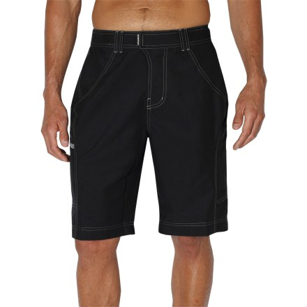 Surf The ExOfficio MarLoco(TM) shorts pull double duty as board shorts and everyday shorts. Wear them for swimming, travel and around-town adventures. Quick-drying polyester is lightweight, water resistant and breathable; easy to care for, too. Fabric provides UPF 20 sun protection, shielding skin from harmful ultraviolet rays. Adjustable internal drawcord secures the fit. 2 drop-in thigh pockets and 1 zippered pocket offer up space to stow your essentials. - $34.83