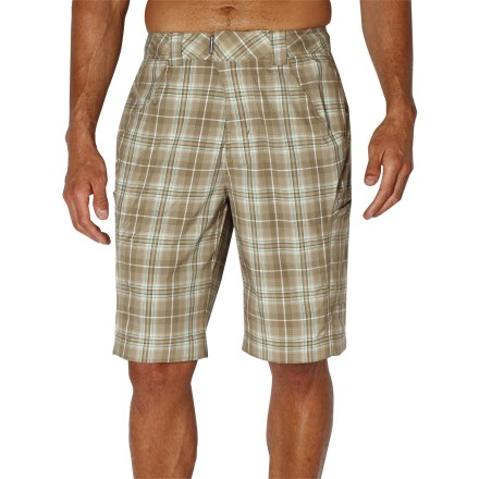 Surf You'll always be ready with the ExOfficio MarLoco Plaid water shorts. Featuring fun plaid and an everyday board-short style, you can wear them at the beach, while traveling or for a casual night out. Quick-drying polyester is lightweight, water resistant and breathable; easy to care for, too. With a UPF 20 rating, fabric provides very good protection against harmful ultraviolet rays. Adjustable internal drawcord secures the fit. 2 drop-in thigh pockets and 1 zippered pocket offer up space to stow your essentials. - $34.83