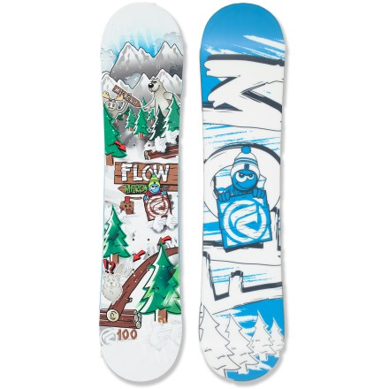 Snowboard Youngsters ready to take on the slopes will love the rippin' Flow Micron Mini snowboard. This twin-tip rocker board is easy to learn on, no matter the conditions. EZ-Rock rocker features super mellow rocker between the feet and camber under the bindings-they'll stay agile in the park on this board. TrueTwin shape means the same cut at the tip and tail for easy switch riding. TruFlex core is lightweight and offers a great rebound so the board is always responsive. Rocker Band carbon band under the core creates a slightly convex base for a smooth ride; biaxial glass adds pop. EZDT sidecut is mellow between the bindings and more aggressive at the tip and tail so turns are easy to initiate and easy to get out of when things get sketchy. Optix 2000 extruded base is fast and requires low maintenance-perfect for kids! . - $77.83