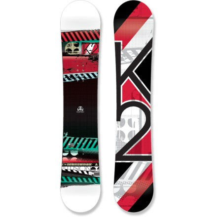 Snowboard The K2 Illusion snowboard is built to let you explore the entire mountain and, with its Catch-Free rocker design, to progress easily. This big-value all-terrain board will get you hooked in 1 season! Catch-Free technology adds a small amount of rocker in the tip and tail while reducing the camber for fun and easy riding. Catch-Free rocker makes turn initiation effortless by bringing the contact points out of the snow so turns happen before the edge bites; camber is 95% flat with 5% rocker. Catch-Free rocker results in more confidence throughout the learning curve and unlocks faster progression on all terrain. Twin Hyper Progressive sidecut mellows out the transitions, leaving you with a predictable, all-around board; twin flex allows easy riding regular and switch. Pure wood core has plenty of flex, durability and snap for riders looking to challenge themselves and go to the next level. Hybritech construction takes a cap tip and tail and blends it into the sidewalls along the running surface for low swing weight, optimized turn initiation and durability. Biaxial glass laminate structure provides smooth, all-purpose performance. Extruded base is durable, fast, easily tuned and ready to ride from day one. . - $164.83