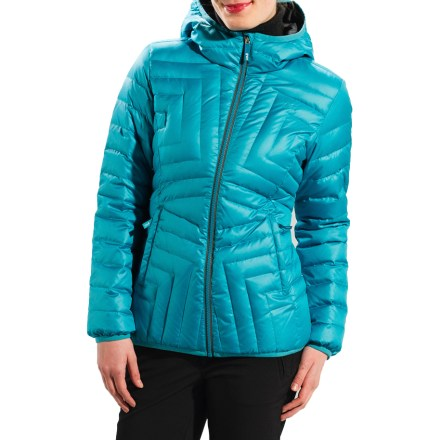 Entertainment The Lole Elena Down jacket shows off your playful sense of style while staying serious about weather protection. Down insulation and ripstop polyester keep you warm while you enjoy cold weather. Shell is made with recycled mini-ripstop polyester and has a Durable Water Repellent finish for water resistance and quick drying. 600-fill-power insulation delivers impressive compression recovery and warmth for its weight; it's highly durable and remains resilient after endless use. Center front zipper has an interior draft flap and wrap-around chin guard. Stretch binding on hood, hem and sleeve cuffs. Lole Elena jacket features zip hand pockets. Closeout. - $119.73