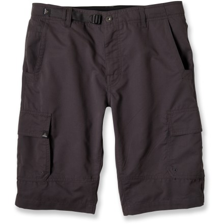 Camp and Hike Perfect for the approach hike and the rock climb, the prAna Titan shorts keep you moving along in comfort on fair-weather adventures. Lightweight, peached cotton/polyester twill fabric is comfortable for rock climbing, hiking and travel. Gusseted crotch allows unrestricted range of motion. Side cargo pockets, front hand pockets and rear pockets offer up plenty of space to stow trail essentials. prAna Titan shorts have an Integrated waist adjustment system that lets you fine-tune the fit. - $49.93