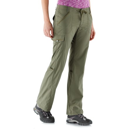 Camp and Hike The REI Aldervale Roll-Up petite pants travel and wear well, no matter what's on the day's agenda. Weather warming up? Aldervale pants roll up to capri-length and secure with snap-tab closures. Woven 2-way stretch fabric is abrasion resistant, quick drying and easy to care for; it provides UPF 50+ sun protection, shielding skin from harmful ultraviolet rays. Drawcord at the waist adjusts the fit; easy on/off with a zip fly and snap closure. Front angle-entry hand pockets, snap-flap cargo pocket at right leg and 2 top-entry back pockets. REI Aldervale Roll-Up pants feature a slim, lean fit; back darts shape the waist for a smooth fit. - $39.83