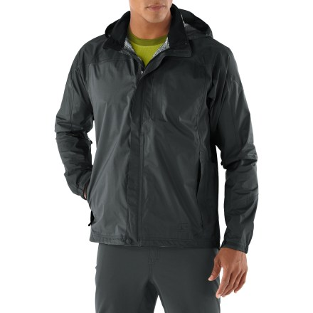 Fitness The lightweight men's REI Rainwall tall rain jacket offers full-featured, waterproof breathable protection. Keep it in your pack, your car or on your bike for sudden changes in the weather. Rainwall jacket packs into its own pocket for easy, compact storage. Lightweight 2.5-layer ripstop nylon is waterproof, breathable and windproof to 60 mph; seams are sealed for complete protection. Fully adjustable brimmed hood zips off or rolls up and secures via a tab; soft tricot-lined collar and chin guard. Full-length front zipper features a bonded placket that keeps wind and wet weather from penetrating; features rip-and-stick neck closure and hem snap closure. Pit zips adjust venting; centered zippers prevent fabric from billowing in strong wind. Drawcord hem and rip-and-stick cuffs hold warmth in. Zip hand and chest pockets; chest pocket has an earphone cord port and jacket zips into hand pocket. REI Rainwall jacket has an easy-layering classic fit. - $119.00