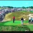 A guy screams mashed potatoes at different golf games