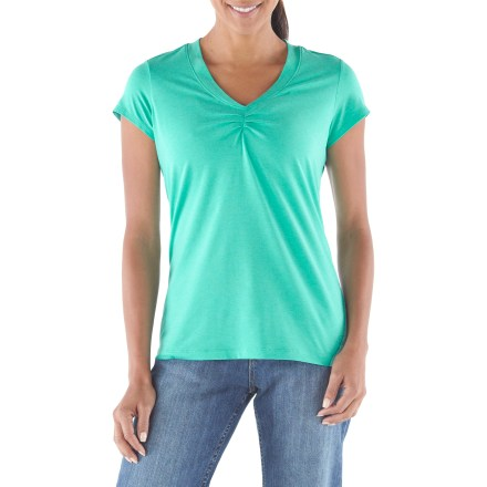 Camp and Hike The REI Northway plus-size T-shirt wicks moisture, dries quickly and offers protection from the sun's rays. Wear it on and off the trail-it's so versatile, you'll want it in multiple colors. Performance fabric blend is soft and stretchy, and provides UPF 50+ sun protection to shield skin from harmful ultraviolet rays. Tucks at center front add cute detail. REI Northway T-shirt has a classic, easy-wearing fit. - $26.93