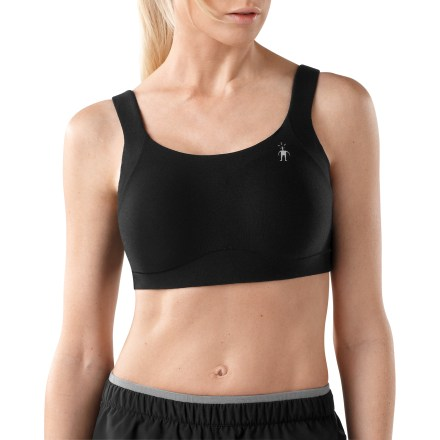 Camp and Hike With the smooth feel of merino wool, the SmartWool PhD Support sports bra offers comfort for medium-impact activities such as yoga, hiking and paddling. Molded cups offer shaping and support, and merino wool and polyester lining wicks moisture away from skin with a very soft, luxurious feel. Merino wool, polyester and elastane blend outer fabric moves smoothly under clothing. Elastic band at ribcage offers excellent support. Adjustable straps ensure a comfortable fit. The SmartWool PhD Support sports bra features a reflective logo to boost visibility in dim light. - $39.83