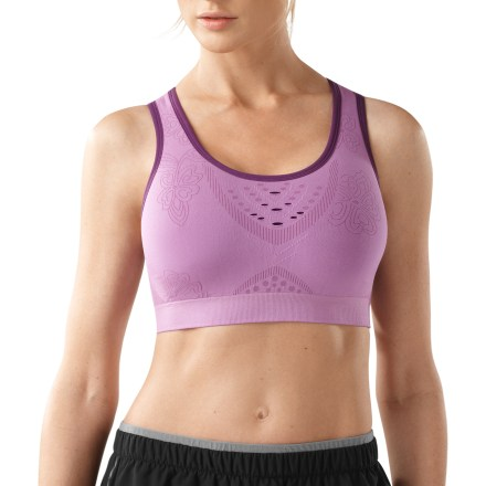 Fitness Train hard in the luxurious comfort of the SmartWool PhD Seamless Racerback sports bra. It offers support for high-impact activities and keeps you comfortable with the natural benefits of merino wool. Knit cups offer high compression, and merino wool, nylon and elastane lining wicks moisture away from skin and offers a very soft feel next to skin. Rib knit side panels enhance support. Polyester, nylon and elastane blend outer fabric moves smoothly under clothing. Elastic band at ribcage offers excellent support. Smartwool PhD Seamless Racerback sports bra features a SmartWool logo at center back. - $41.93