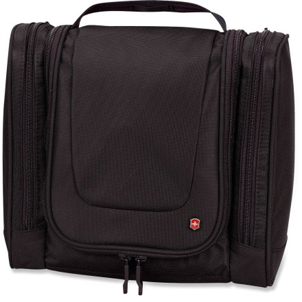 Entertainment Victorinox Hanging toiletry kit keeps all your toiletries safe and secure as you whisk about on your travels. It conveniently hangs for easy access once you're at your home-away-from-home. - $39.93