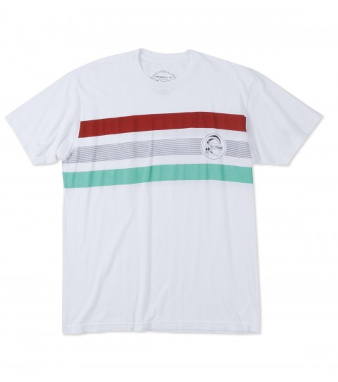 Surf O'Neill Lido Tee.  100% Ringspun cotton.  30 singles modern fit garment dyed tee with softhand screenprint stripes. - $15.99