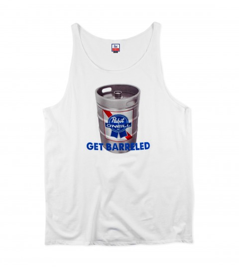 Surf O'Neill PBR Get Barreled Tank.  100% Cotton.  30 Singles modern fit tank with softhand screenprint and attached hangtag.  Pabst Blue Ribbon collaboration tank. - $15.99