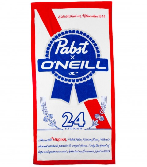 "Surf O'Neill PBR Blue Ribbon Towel.  100% Cotton velour towel with screen print Pabst ribbon logos.  Pabst Blue Ribbon collaboration towel.59"" x 29.5"" - $20.99"