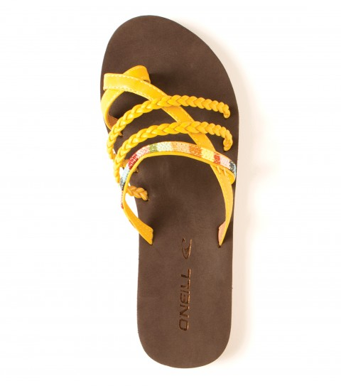 Surf O'Neill Festival Sandals.  Faux leather upper with woven colorblock taping; thick stitch detail; padded faux leather topsole with stitch detail; rubber sponge outsole. - $14.99