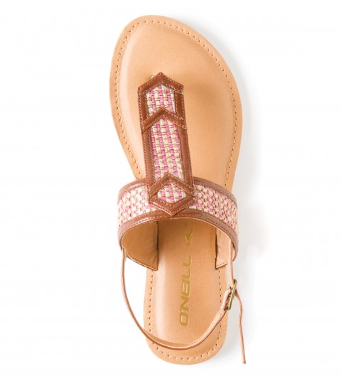 Surf O'Neill Diamond Sandals.  Novelty woven fabric overlay; faux leather upper; faux leather heel strap; metal buckle; padded faux leather topsole with stitch detail; sandal bottom outsole. - $25.99
