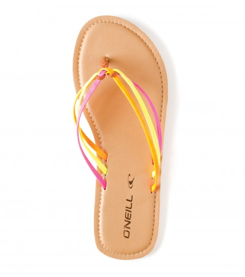 Surf O'Neill Maya Sandals.  Multi color faux leather upper straps; braided faux leather toepost; padded faux leather topsole with stitch detail; molded TPR outsole. - $18.99